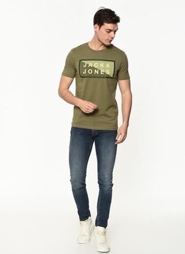 Jack & Jones Jack&Jones Erkek Baskılı T Shirt 12185035 Yeşil